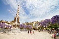 Το Plaza το τετραγωνικό μνημείο της Μάλαγας στοκ εικόνα