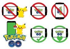 Το Pokemon πηγαίνει σύνολο σημαδιών ελεύθερη απεικόνιση δικαιώματος