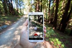 Το Pokemon ΠΗΓΑΙΝΕΙ App που παρουσιάζει ότι Pokemon αντιμετωπίζει Στοκ Εικόνες