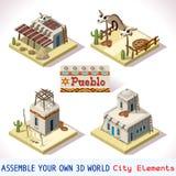 Το Pueblo κεραμώνει 01 σύνολο Isometric Στοκ εικόνες με δικαίωμα ελεύθερης χρήσης
