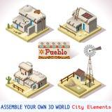 Το Pueblo κεραμώνει 03 σύνολο Isometric Στοκ Φωτογραφία