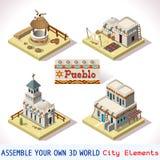 Το Pueblo κεραμώνει 02 σύνολο Isometric Στοκ εικόνες με δικαίωμα ελεύθερης χρήσης
