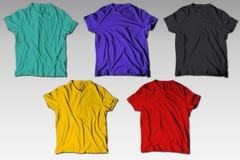 Το Reallistic ζαρώνει τη ζωηρόχρωμη δέσμη προτύπων μπλουζών στοκ εικόνες με δικαίωμα ελεύθερης χρήσης