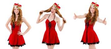 Το redhead κορίτσι με την κορώνα που απομονώνεται στο λευκό Στοκ Εικόνες
