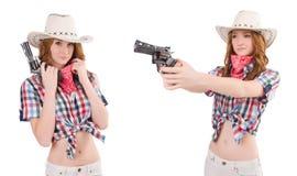 Το redhead cowgirl με το πυροβόλο όπλο που απομονώνεται στο λευκό Στοκ φωτογραφίες με δικαίωμα ελεύθερης χρήσης