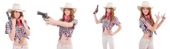 Το redhead cowgirl με το πυροβόλο όπλο που απομονώνεται στο λευκό Στοκ φωτογραφία με δικαίωμα ελεύθερης χρήσης