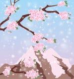 Το sakura εποχής τοποθετεί το Φούτζι απεικόνιση αποθεμάτων