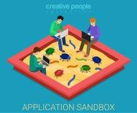 Το Sandbox ανάπτυξης εφαρμογών διορθώνει το επίπεδο τρισδιάστατο isometric διάνυσμα Στοκ φωτογραφία με δικαίωμα ελεύθερης χρήσης