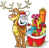 Το Santa κάθεται σε έναν τάρανδο σέρνει το έλκηθρο Στοκ Εικόνες