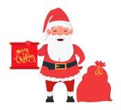 Το Santa που στέκεται κοντά στην τσάντα με παρουσιάζει και που κρατά τα κόκκινα WI αφισσών Στοκ φωτογραφία με δικαίωμα ελεύθερης χρήσης