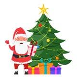 Το Santa που στέκεται κοντά στο χριστουγεννιάτικο δέντρο με παρουσιάζει κάτω από το Στοκ εικόνες με δικαίωμα ελεύθερης χρήσης