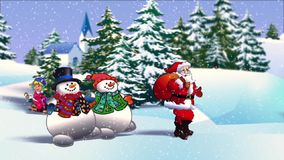 Το Santa Klaus και οι χιονάνθρωποι πηγαίνουν κατά μήκος του χειμερινού δρόμου απόθεμα βίντεο
