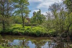 Το Scotlands σταθμεύει την αρχαία πρασινάδα Lucious καταστροφών και έναν ευγενή ρέοντας ποταμό με τις αντανακλάσεις στο νερό στοκ φωτογραφίες με δικαίωμα ελεύθερης χρήσης