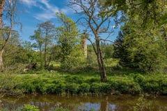 Το Scotlands σταθμεύει την αρχαία πρασινάδα Lucious καταστροφών και έναν ευγενή ρέοντας ποταμό με τις αντανακλάσεις στο νερό στοκ φωτογραφία με δικαίωμα ελεύθερης χρήσης