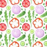 Το seanless σχέδιο watercolor χρωμάτων χεριών με τα λαχανικά καθορισμένα τρώει την τοπική αγροτική αγορά αγροτικές απεικονίσεις μ διανυσματική απεικόνιση