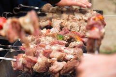 Το Shashlik, κρέας που ψήνει στη σχάρα στο οβελίδιο μετάλλων, κλείνει επάνω Στοκ Εικόνα