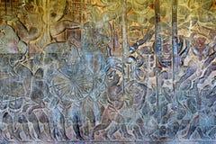 Το Siem συγκεντρώνει, Καμπότζη - 5 Δεκεμβρίου 2016: Ανακούφιση σε Angkor Wat ένα famou Στοκ Εικόνες