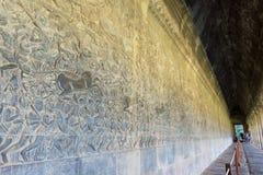 Το Siem συγκεντρώνει, Καμπότζη - 5 Δεκεμβρίου 2016: Ανακούφιση σε Angkor Wat ένα famou Στοκ Εικόνα