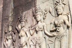 Το Siem συγκεντρώνει, Καμπότζη - 10 Δεκεμβρίου 2016: Ανακούφιση σε Angkor Wat ένα famou Στοκ Φωτογραφία