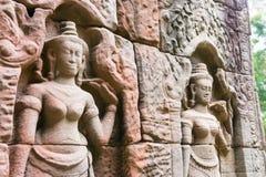 Το Siem συγκεντρώνει, Καμπότζη - 13 Δεκεμβρίου 2016: Ανακούφιση σε Krol Ko σε Angkor Στοκ Φωτογραφία