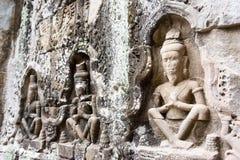 Το Siem συγκεντρώνει, Καμπότζη - 13 Δεκεμβρίου 2016: Ανακούφιση σε Preah Khan σε Angko Στοκ Εικόνα