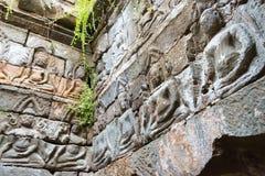 Το Siem συγκεντρώνει, Καμπότζη - 10 Δεκεμβρίου 2016: Ανακούφιση σε Preah Pithu σε Angk Στοκ Εικόνες