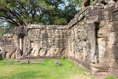 Το Siem συγκεντρώνει, Καμπότζη - 10 Δεκεμβρίου 2016: Πεζούλι των ελεφάντων στο Α Στοκ εικόνα με δικαίωμα ελεύθερης χρήσης