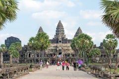 Το Siem συγκεντρώνει, Καμπότζη - 10 Δεκεμβρίου 2016: Angkor Wat διάσημος ένας ιστορικός Στοκ Εικόνες