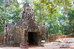 Το Siem συγκεντρώνει, Καμπότζη - 11 Δεκεμβρίου 2016: SOM TA σε Angkor ένας διάσημος γεια Στοκ Εικόνες