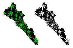 Το Sinaloa ένωσε τα μεξικάνικα κράτη, Μεξικό, ο χάρτης ομοσπονδιακών δημοκρατιών είναι σχεδιασμένο φύλλο καννάβεων πράσινο και ο  ελεύθερη απεικόνιση δικαιώματος
