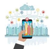 Το Smartphone βοηθά υπό εξέταση να στραφεί σε μια έξυπνη πόλη με τις προηγμένες έξυπνες υπηρεσίες, και την αυξημένη πραγματικότητ διανυσματική απεικόνιση