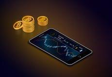 Το Smartphone με το διάγραμμα μετρητών bitcoin στην οθόνη και οι σωροί του χρυσού bitcoin εξαργυρώνουν τα νομίσματα απεικόνιση αποθεμάτων