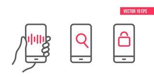 Το Smartphone με το ιδιωτικό εικονίδιο κλειδαριών στην οθόνη, εικονίδιο τεχνολογίας φωνής, βρίσκει το διάνυσμα εικονιδίων, εικονί απεικόνιση αποθεμάτων