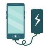 Το smartphone χρεώνεται μέσω του φορτιστή Διανυσματική απεικόνιση ι Στοκ Εικόνες