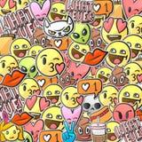 Το smiley Emoji αντιμετωπίζει το σχέδιο, emoticon υπόβαθρο αυτοκόλλητων ετικεττών Απεικόνιση αποθεμάτων