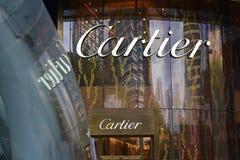 Το Societe Cartier σχεδιάζει, κατασκευάζει, διανέμει και πωλεί το κόσμημα και τα ρολόγια από το 1847 Στοκ εικόνα με δικαίωμα ελεύθερης χρήσης