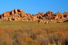 Το Stadsaal ανασκάπτει το τοπίο στο Cederberg, Νότια Αφρική στοκ εικόνα