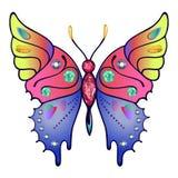 Το Strass χρωμάτισε την περιγραμμένη πεταλούδα Στοκ εικόνα με δικαίωμα ελεύθερης χρήσης