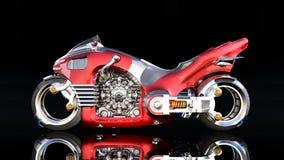 Το Superbike με τη μηχανή χρωμίου, κόκκινη φουτουριστική μοτοσικλέτα που απομονώνεται στο μαύρο υπόβαθρο, πλάγια όψη, τρισδιάστατ ελεύθερη απεικόνιση δικαιώματος
