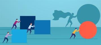 Το superhero επιχειρηματιών ωθεί την κόκκινη σφαίρα, προσπερνώντας τους ανταγωνιστές Έννοια της νίκης της στρατηγικής απεικόνιση αποθεμάτων