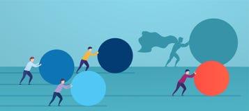 Το superhero επιχειρηματιών ωθεί την κόκκινη σφαίρα, προσπερνώντας τους ανταγωνιστές Έννοια της νίκης της στρατηγικής, επιχειρησι απεικόνιση αποθεμάτων
