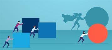 Το superhero επιχειρησιακών γυναικών ωθεί την κόκκινη σφαίρα, προσπερνώντας τους ανταγωνιστές Έννοια της νίκης της στρατηγικής, ε απεικόνιση αποθεμάτων