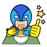 Το Superhero τρώει τα νουντλς Στοκ φωτογραφίες με δικαίωμα ελεύθερης χρήσης