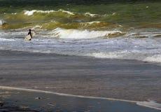 Το Surfer εισάγεται σε έναν ωκεανό Στοκ Εικόνα