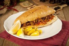 Το tantuni βόειου κρέατος κρέατος είναι ένα είδος παραδοσιακού τουρκικού kebap στοκ εικόνες