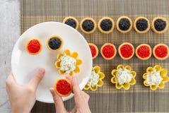 Το Tartlets γέμισε με τη σαλάτα τυριών και άνηθου και το χαβιάρι στο μπαμπού placemat και ένα χέρι επιλέγοντας τα tartlets στο πι Στοκ Φωτογραφίες