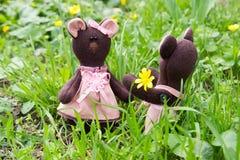Το Teddy αντέχει δίνει τα λουλούδια teddy αντέχει το κορίτσι Στοκ φωτογραφία με δικαίωμα ελεύθερης χρήσης