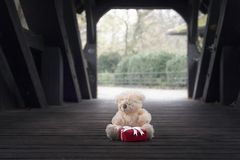 Το Teddy αντέχει και δώρο σε μια ξύλινη σήραγγα Στοκ φωτογραφία με δικαίωμα ελεύθερης χρήσης