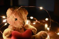 Το Teddy αντέχει με το θερμό οδηγημένο φως Στοκ Φωτογραφία