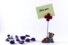 Το Teddy αντέχει με σ' αγαπώ στοκ φωτογραφίες